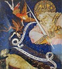 この画像はおそらくロアンの時祷書だと思うのですが、死者の魂を救おうとして戦っている大天使の名前がわかる方はいらっしゃいますか? 翼が生えた人物が大天使らしいのですが、名前が分からなくて、、 ミカエルかガブリエルかラファエルのいずれかなのでしょうか?