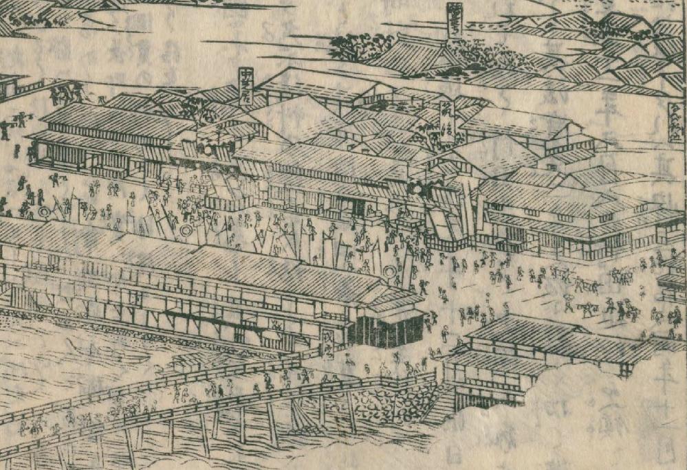江戸時代の風景画ってどうやって書いてたんでしょう? 摂津図会の道頓堀、戎橋橋の絵ですが、かなり正確、詳細に書き込まれています。 しかし、このアングルやパースのかかり方からすると、 相当遠く、しかもかなり 高い所から見た図に見えます。 今でいうアメ村あたりから見ているように見えますが、 そこら辺に高い場所なんてないですよね? 火の見櫓にしては高すぎる気がするのですが、どうなんでしょう?