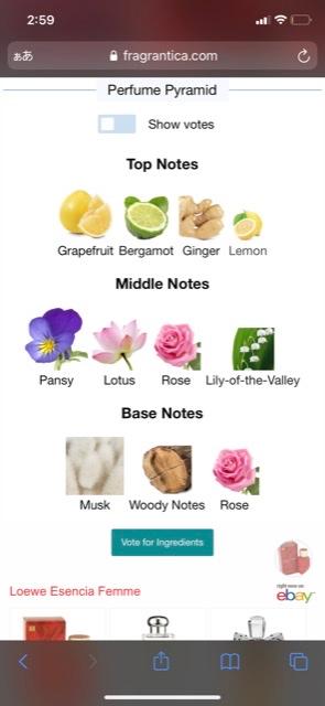 LOEWE の香水エセンシア ファムが 廃盤になってて、大好きな香りなんですが 似た香りがなかなか見つけられないですᐪᐤᐪ 詳しい方教えていただきたいです トップノート レモン・ジンジャー・ベルガモット・グレープフルーツ ミドルノート すみれ・バラ・蓮・スズラン・フローラル ボトム バニラ・ムスク・ウッディ です。よろしくお願いしますᐪᐤᐪ!!!