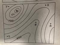 等高線の問題です。 3番目に高いのがカの地点なのですが、 理由を教えてください。