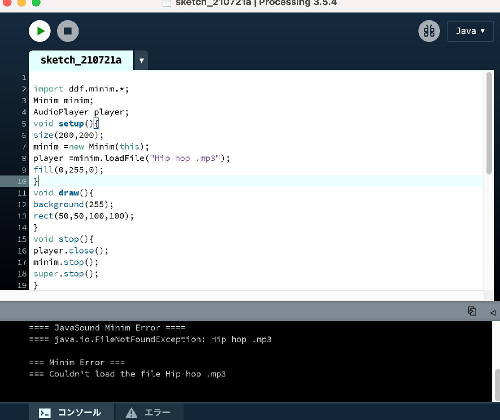 """Processing初心者の質問です。 調べてみたり質問してみたのですが分からず...教えていただけると助かります。 希望 ・Hip hop.mp3を再生したいです! 現状 ・sketchのフォルダ内にsketchとdataファイルがあります。 dataファイル内にHip hop.mp3が入っています。 import ddf.minim.*; Minim minim; AudioPlayer player; void setup(){ size(200,200); minim =new Minim(this); player =minim.loadFile(""""Hip hop.mp3""""); fill(0,255,0); } void draw(){ background(255); rect(50,50,100,100); } void stop(){ player.close(); minim.stop(); super.stop(); } void mousePressed() { if (mouseX>50&&mouseX<150&&mouseY>50&&mouseY<150) { fill(255,0,0); player.play(); player.rewind(); } } void mouseReleased(){ fill(0,255,0); } void keyPressed() { if ( key == 'q' ) { player.pause(); } } よろしくお願いいたします。"""