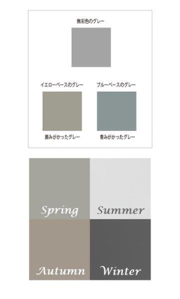 パーソナルカラー別グレーで、無彩色のグレーが一番似合います。 この色は下の4シーズンの中だとスプリングさんの色に近いと思うのですが、この場合わたしはスプリングである確率が高いですか? ちなみにグレーやベージュは好きでよく着ます 明るいグレー>明るいベージュ>暗いグレー>暗いベージュの順でしっくりくるのですが、パーソナルカラー診断的に参考になりますか?