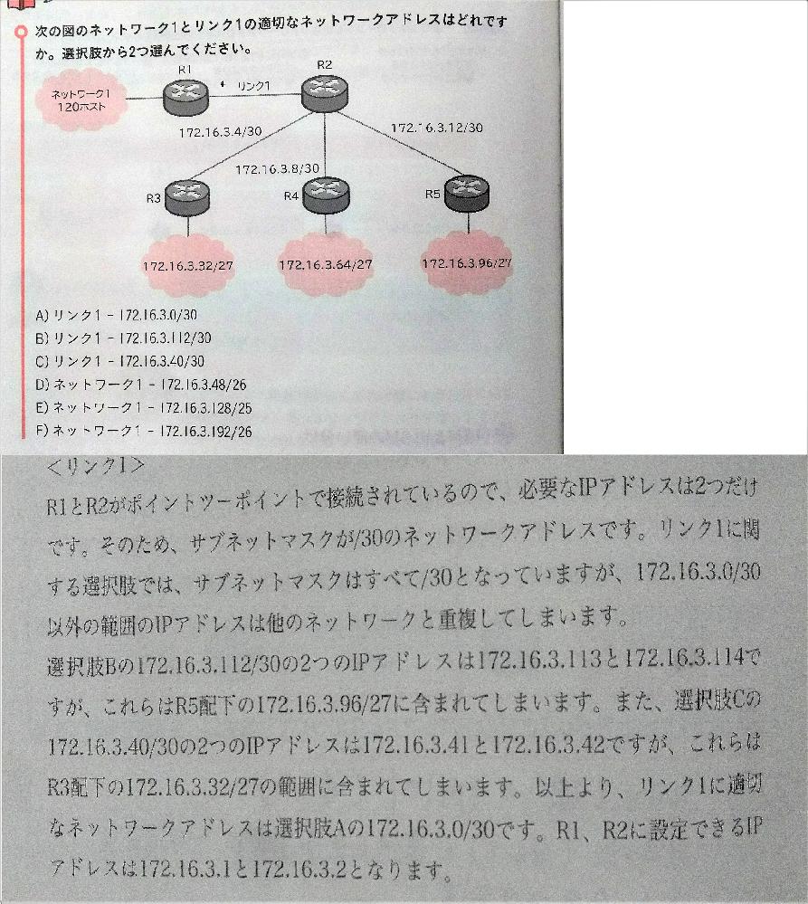ゼロからはじめるCCNA超基礎講座から p206 chapter5 IPアドレッシングの項目 172.16.3.0/30以外の範囲のIPアドレスは他のネットワークと重複しています この一文の詳細の解説をお願いいたします この問題に関して他の補足事項等ありましたら合わせてお願いします 解答・解説がありますが省略してあるように感じます なおこの問題の正答はA.Eです