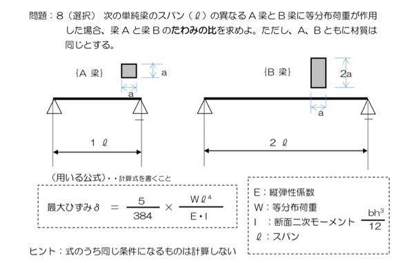 構造力学の問題について 勉強をしているのですが、この問題がどうしてもわかりません。教えていただけると幸いです。 よろしくお願い致します。 問題文 次の単純梁のスパン(l)の異なる A 梁と B 梁に等分布荷重が作用 した場合、梁 A と梁 B のたわみの比を求めよ。ただし、A、B ともに材質は 同じとする。