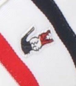 ラコステのポロシャツで、胸のワニのロゴマークに3色のカラーリングが施されているやつはありますか? 画像はスニーカーのものですが、こんな感じのやつです。
