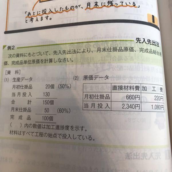 この問題で、加工費の月末仕掛品を求めるときに、 1080円/120個×30個とあったのですが、なぜ、月初仕掛品の220円が分子にないのですか?