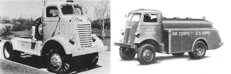 同世代のトラック 左はGMC AFKX-502(S14)です(トラクター) 右はオートカー U-2044(S15)です なぜ片方はセミキャブオーバーでもう片方はキャブオーバーなの❓ ともに4WD