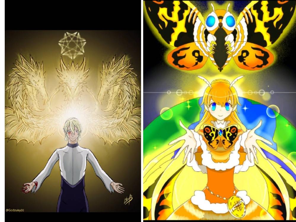 どちらの画像の方が好きですか?理由もお願いします。画像にいるのは左には上にギドラ、下にメトフィエス、右には上にモスラ、下に擬人化モスラ。