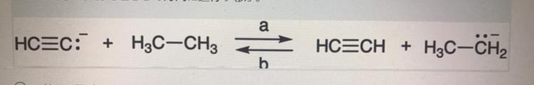 図の反応はa.bどちらの方向に進行するか、また、そのように考えた理由