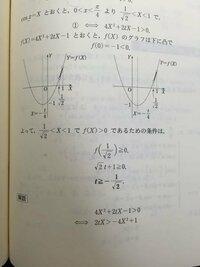 理系プラチカ 64についてなのですが、 軸が範囲の左側、軸が範囲の中、軸が範囲の右側で場合分けして解いたのですが、 解答でy切片が-1を示して、軸が0より大きいか小さいかで場合分けしていますが、これは何故この場合分けで済むのでしょうか??