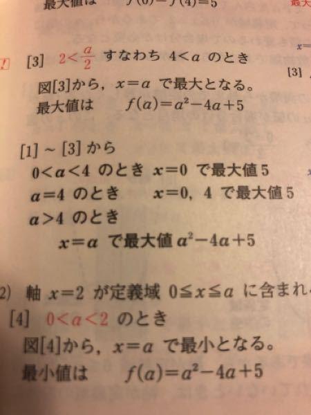 数Ⅰで質問です。 二次関数の場合分けで、定義域が下の写真の場合 <となっていますが、例えば0<a<4が0≦a≦4でも大丈夫なんですか? 仮に大丈夫でない場合、その理由を教えてください。