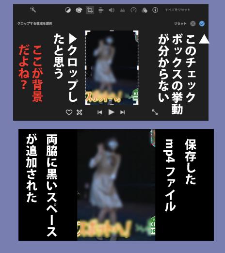 iMovie(10.1.8)で初めて動画編集にチャレンジしています。 二つの縦長の動画を合成し、共有からファイル合成は出来るのですが、 縦長だったのに、左右に追加され黒い背景と一緒になり横長にます。(画像参照) クロップが上手くいってないのでしょうか? 手順はだいたいこんな感じです トリミングしたい素材を選択した状態でビューア上部のクロップのアイコンを押す 「サイズ調整してクロップ」を選択(添付画像の様に縦横サイズ点線で囲まれる) トリミングしたい領域を指定できたら最後にチェックボタンを押す。 (これがよく分からない) 最初からチェックボタンにはチェック入っていますし。 チェックボタンを押して?も、画面上はクロップ出来ているように見えますが、共有からファイルにすると、背景(左右の黒い所)まで合成されています (上が) チェックボタンが【実行】とか【done】なら分かりやすいかな? お教え下さい。