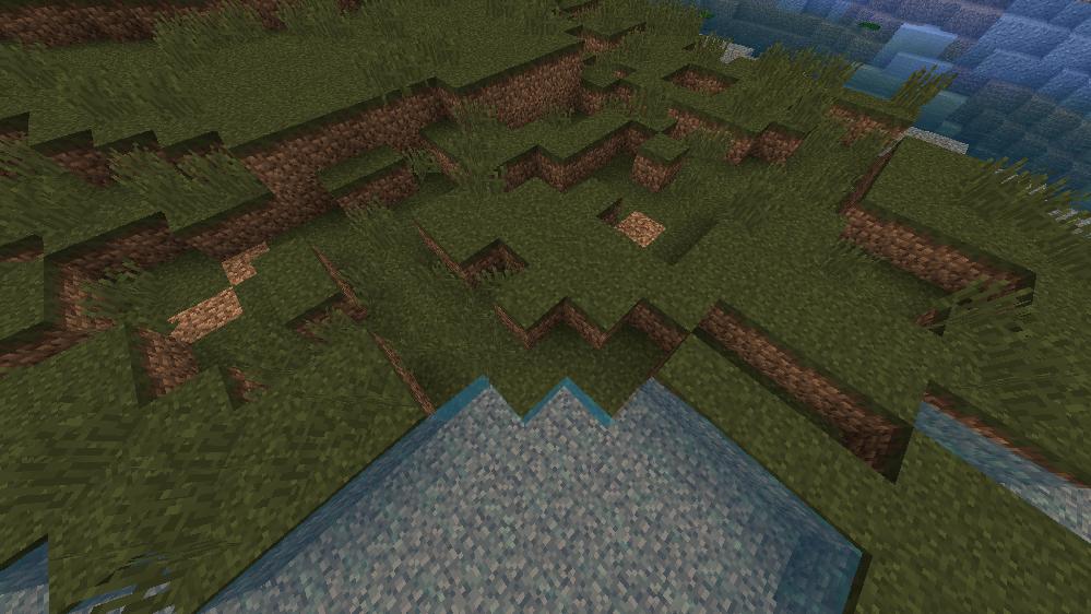 Minecraft 1.12.2で湿地帯が画像のような感じになってしまいます理由がわかる方いらっしゃいますか? Mod一覧です https://hastebin.com/otufumecoq.css