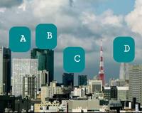 この景色はどの方面から撮れますか?A(白いビル)Bの高いビル、Cの二つのビル、Dの変わった形のビルの名称教えてください。 よろしくお願いいたします。