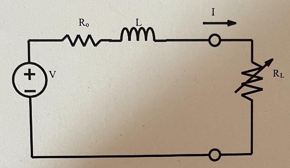 電気回路の問題で質問です。 この回路においてRLが変化でき、Vは正弦波交流電圧源の実効値、ωを角周波数とする。 (1) 負荷電流 I をV、Ro、RL、jωLを用いて表せ。 (2) RLでの消費電力PをV、 Ro、RL、ωLを用いて表せ。 (3) Pを最大にするRLの値をRo、ωLを用いて表せ。 (4) Pの最大値PmをV、Ro、ωLを用いて表せ。