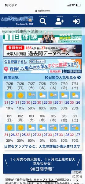 この天気予報の8月5日の雨は可能性としては何%くらいだと思いますか?