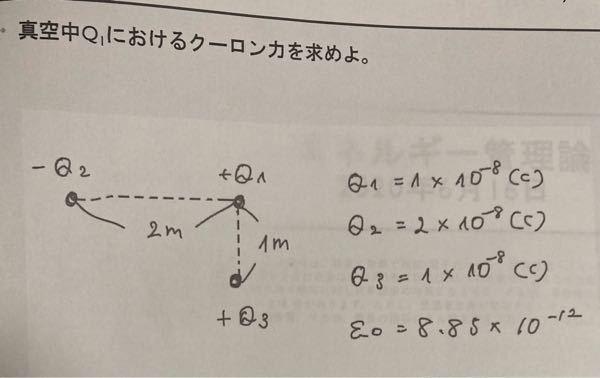 真空中のクーロン力を求める以下の計算がわかりません、、 ご回答よろしくお願いします、、