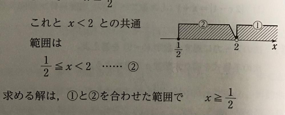 ②が2を含んでいないから、解x≧1/2なんですか?