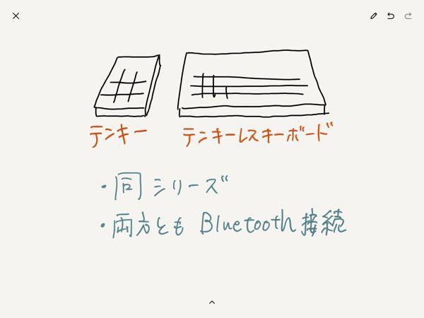 キーボードに詳しい方に質問です!! 写真のように、左側にテンキーを、右側にテンキーレスキーボードを置いた環境を作りたいです。 なお、見た目を重視したいため、 ①同シリーズであること ②Bluetooth接続であること が条件です。 自分で探してはみたのですが、ワイヤレスのテンキーがなかなかなくって… 詳しい方、よろしくお願いします!!