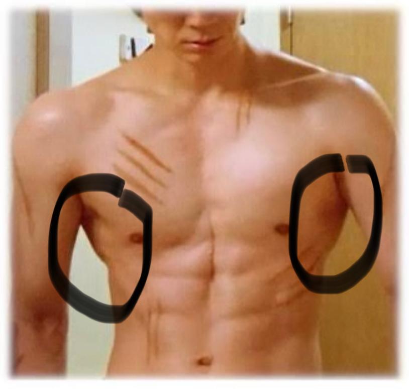 この写真のような脇腹の上の方のモッコリ感を出すにはどのような筋トレをすれば良いですか? 自重の筋トレでお願いします。