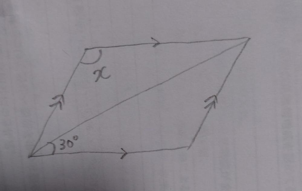 平行四辺形 角度 難問 数学 画像のxの角度を求める問題です。 問題がうろ覚えなので解けない可能性があるのですが...この値だけで導くことはできますか?