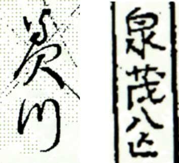 旧字の読み方を教えて下さい。 添付画像の左側は明治生まれの女性の名前、右側は江戸時代生まれの男性の名前で、出所は戸籍謄本です。左側の最初の2文字はわかりますが、それ以外が判読できません。 識者の方にご教授いただければ幸いです。 よろしくおねがいします。