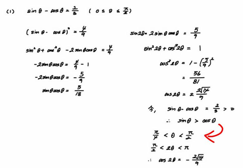 高校数学です。 [問題] sinθ-cosθ=2/3 (0≦θ≦π/2)のとき、sinθcosθ、cos2θの値を求めよ。 このcos2θを求める解き方で下の写真のようなのがあったのですが、赤矢印のところで、なぜ sinθ>cosθ だから π/4<θ<π/2 と分かるのでしょうか! 教えてください!