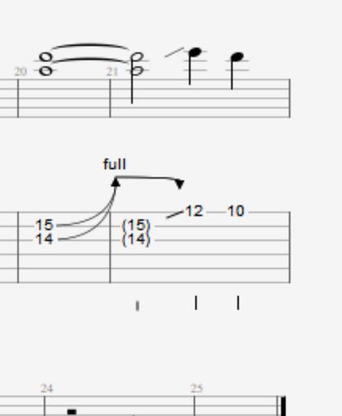 エレキギター初心者なんですが、このTAB譜の矢印が下にいくところ?ってどうやって弾いたらいいですか? 指のうまい動かし方?とか具体的に教えていただけると嬉しいです(。_。*)
