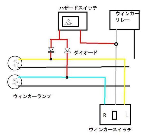 写真はGoogleからなんですけど、同じやり方でハザードを使えるようにしたいです。ハザード用のスイッチの配線は+、-どちらをウインカーリレーの配線に繋げばいいですか?