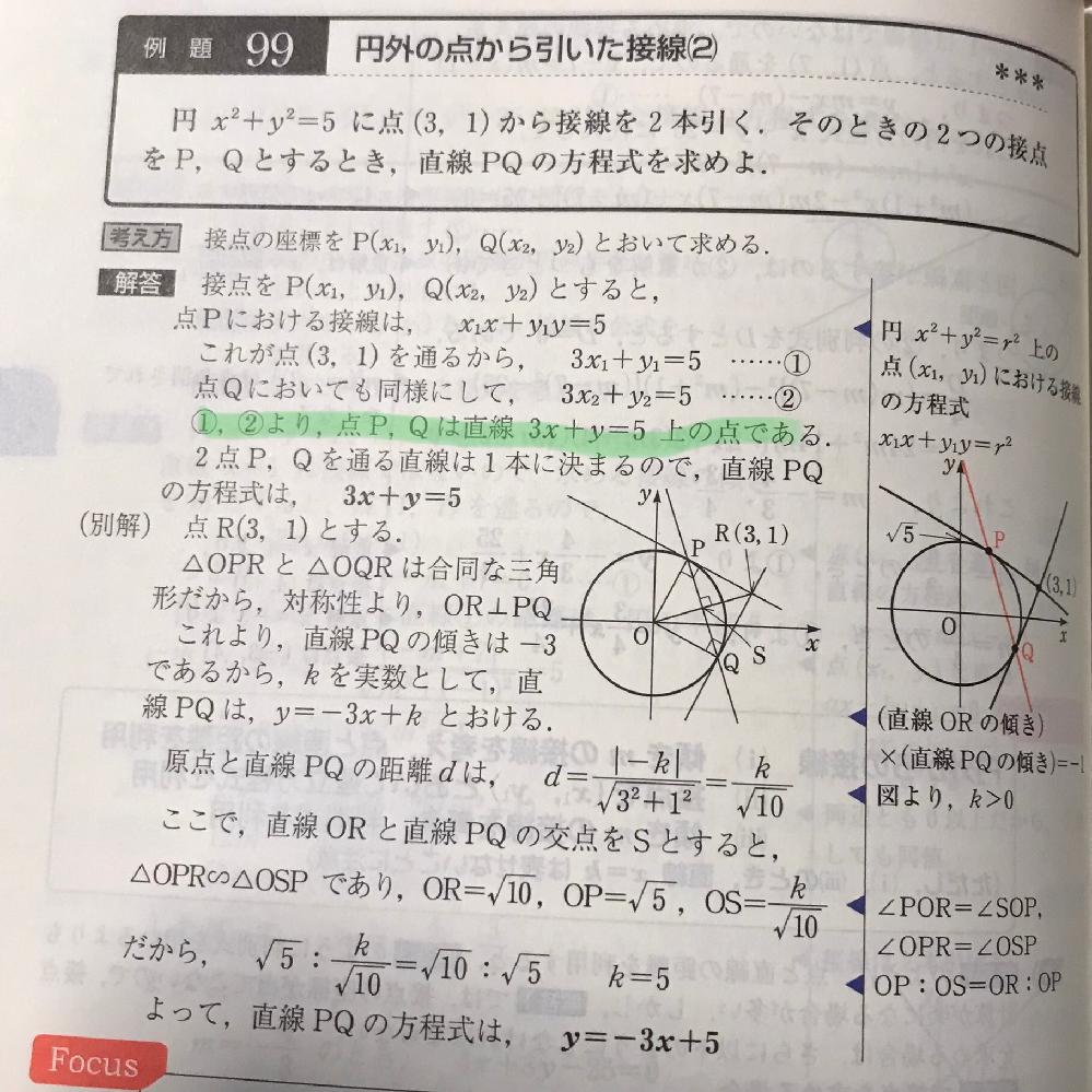 某数学の網羅系参考書の問題です! マーカー部がなぜ言えるのかがわかりません!解説お願いします!