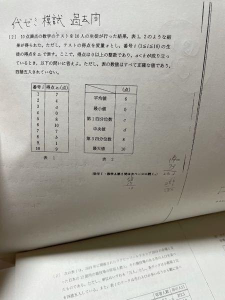 数学の平均点が6点であることからa+b=セソ a<b 数学の得点の第3四分位数が8点であることよりa=タ、b=チ お願いします
