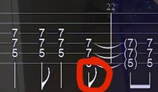 ギターのタブ譜の記号について。写真の赤丸のところにある記号の名前と意味を教えてください!