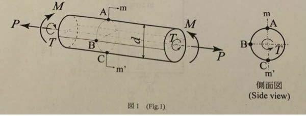 材料力学の問題で分からない問題があります。誰か解き方を教えてください! 図1に示す直径dの中実丸棒に軸方向に引張荷重P、曲げモーメントM、ねじりモーメントTが同時に作用している時、 (2)B点での軸方向応力とせん断応力が等しい時、B点に生じる最大引っ張り応力σmaxをdとPを用いて表せ。 (3)(2)に引き続き、T=2Mとした時、C点に生じる最大引っ張り応力σcmaxをdとPを用いて表せ。また最大引っ張り応力は、軸引っ張り方向から時計方向に何度傾いた方向に生じるか。その角度θcを求めよ。 という問題で、答えは σBmax={4P(0.5+√5)}/πd^2 σcmax= {4P(1+16/25)}/πd^2、θc=30° になるそうなのですが、何故そうなるのかよくわかりません。モールの応力円を使うらしいのですが、誰か解き方を教えてください。