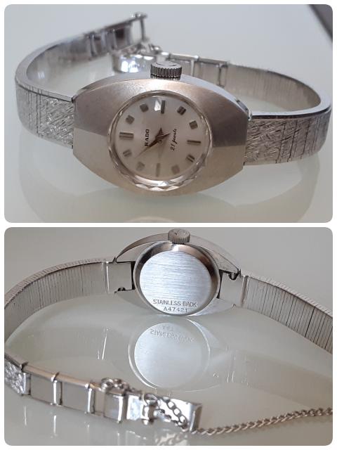 古い腕時計に詳しい方、教えてください。 見た目がすごく好みで、フリマサイトで買いました。 が、知識が全くなく、これはどういった物かが分かりません。 「RADOの手巻き腕時計?」ということだけは分かるのですが、 年式やシリーズ名、真贋さえも不明です。 写真から分かることがありましたら、教えてください。
