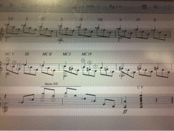 クラシックギターの独特の楽譜記号の質問です。 写真の「Ⅻ」「X」「Ⅵ」とかはフレッドの数のことでしょうか? また、「MC V」「MC Ⅱ」「C V」 「Harm Ⅻ」などの意味を教えて下さい。