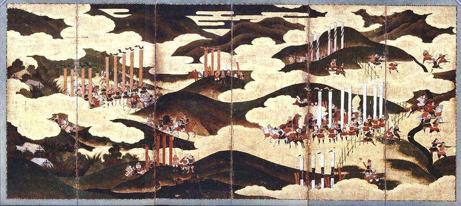 この画像の屏風は何と言う屏風画ですか? 長篠合戦図でしょうか? 普通の長篠合戦と違う雰囲気ですが。 何処に在るのが本物ですか?