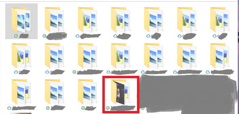 icloud driveのwinPC版で画像のようにフォルダの中身がサムネで出てるやつと出ていないやつがあります。これを全部サムネが見えるようにできないでしょうか? ※赤枠がサムネ見えてるやつ ...