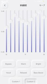 AVIOTのイヤホンのイコライザ設定を『パーフェクト』にカスタマイズしたんですが、これで大丈夫ですか? +5KHzまでしか上がらないので数値は元のパーフェクト設定のちょうど半分に設定しています。