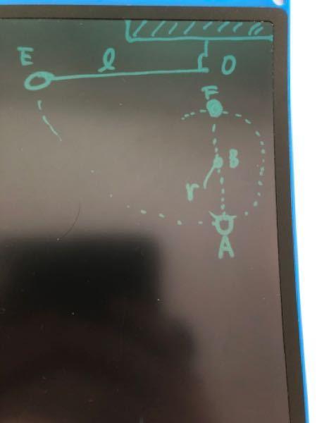 図のように糸が弛まないように質量mの小球を点Oと同じ高さの点Eまで持ち上げ静かに離した。小球Aを通過した瞬間に糸は釘に触れ小球は点Bを中心とする円運動をした。この時の円運動の頂点をFとして重力加速度の大きさ をgとする 1 小球がfを通過した瞬間の速さはいくつか という問題で力学的エネルギーの保存の法則より mg(L-2r)=1/2mV^2とありました。 なぜF点での位置エネルギーからA点での運動エネルギーで速さが分かるんですか?