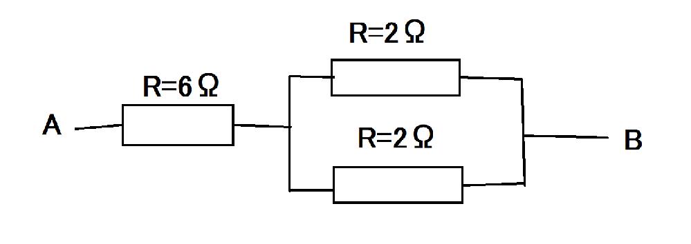 電気回路 電流 電気抵抗 計算 下の電気回路における、A、B間の合成抵抗値は何Ωですか? また、その計算方法を教えてください
