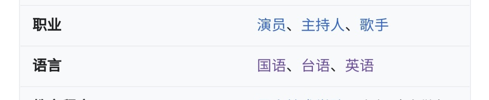 この意味は何ですか? 職業 俳優、司会者、歌手 話し言葉 中国語、台湾語、英語 合っていますか?