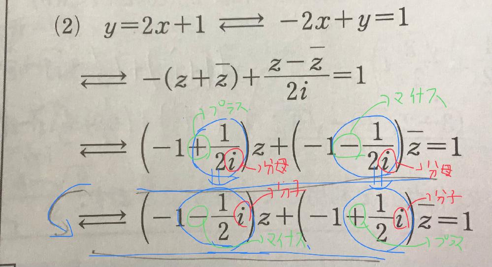 数学Ⅲ、複素数平面の質問です。 青い線の質問ですが+1/2iが−になることで(符号が変わる)iがなぜ分母から分子に行くことができるのでしょうか。教えてください。よろしくお願いします。