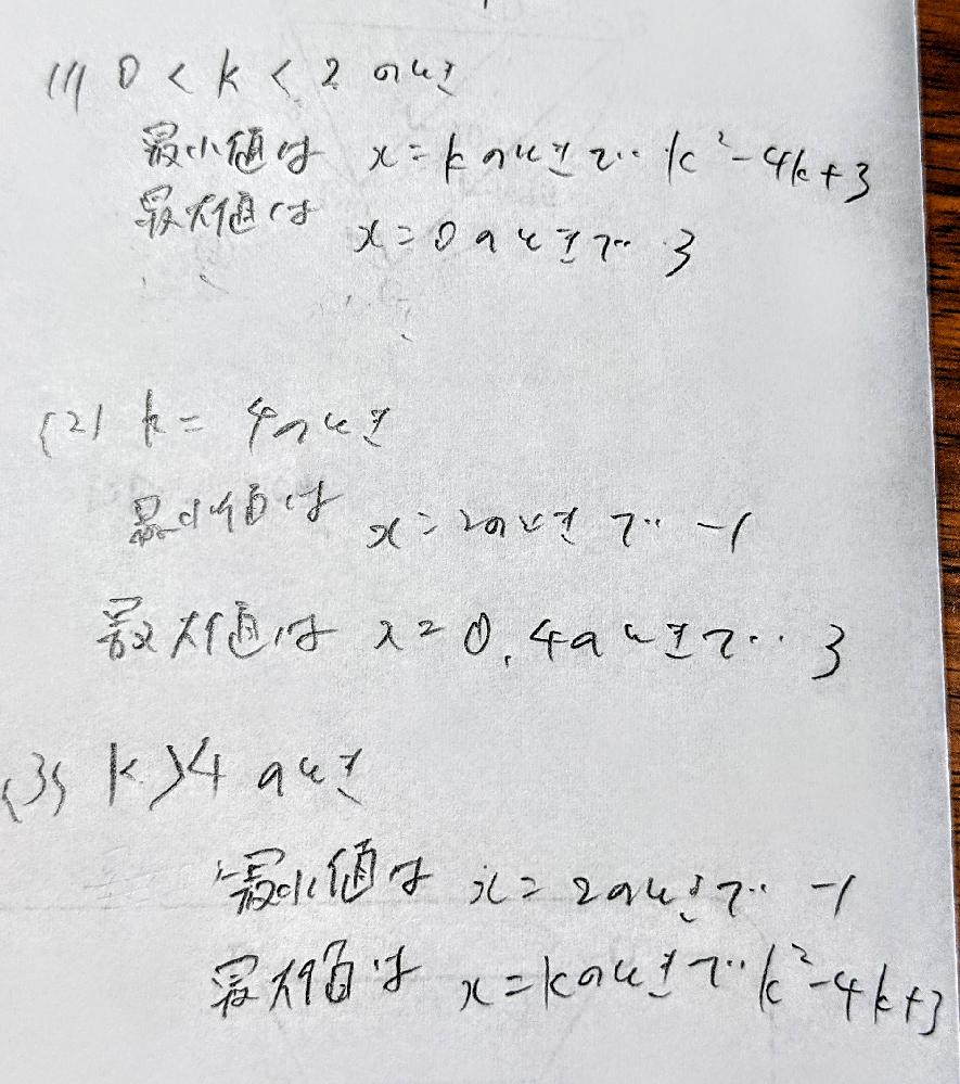 0≦x≦k(k>0)における二次関数y=x²−4x+3の最大値、最小値をkの値で場合を分けて求めよ。 という問題なのですが、答えはこれであっていますか?汚くてすいません。
