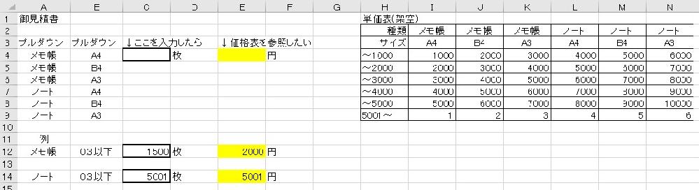 仕事でエクセルで御見積書を作っています。 添付画像のような条件で使える関数はございますでしょうか? VLOOKUP関数とIF関数の組み合わせだとは思うのですが、アドバイスお願いいたします。