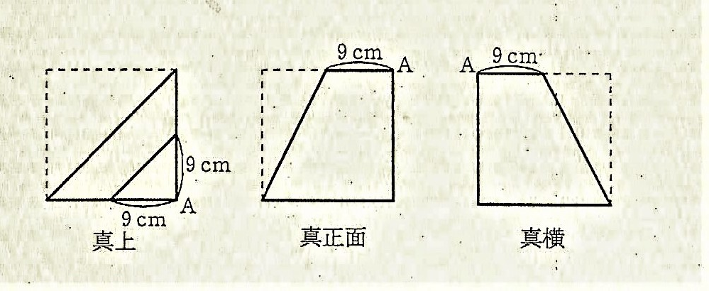 すみません。どなたか、下の算数の問題を教えてください。 1辺が18cmの立方体をある平面で切断し、真上、真正面、真横から見たら、右図のようになった。この立体の体積を求めなさい。ただし、角すいの体積は、(低面積)×(高さ)÷3で求められます。