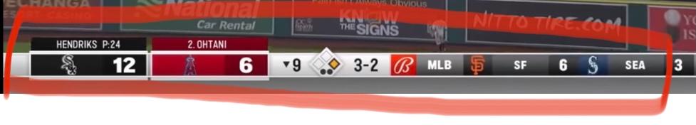 最近大谷にハマり、メジャーの試合を見たのですが、画像の下の表の見方が分からず質問させて頂きました。 左から順にそれぞれの英数字の意味を教えて頂けないでしょうか?