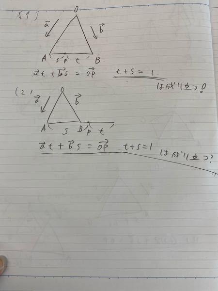数学のベクトルについて質問です。 (1)の場合、写真の様な式が成り立つ知っていますが、(2)の場合の図でも同じ式は成り立ちますか? 絵が汚くてすいません。