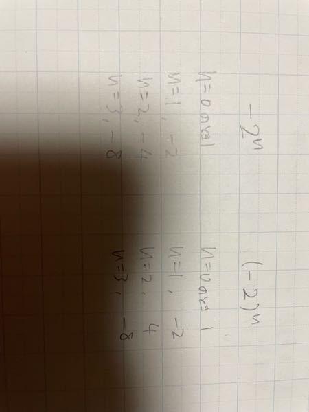 高校数学についてです。 下図のように−2^nと(−2)^nは別のものですか? 別のものだとしたら問題などでよく見かける(個人的な意見)−2^nの形は必ずn=1以外、マイナスの値になりますか?