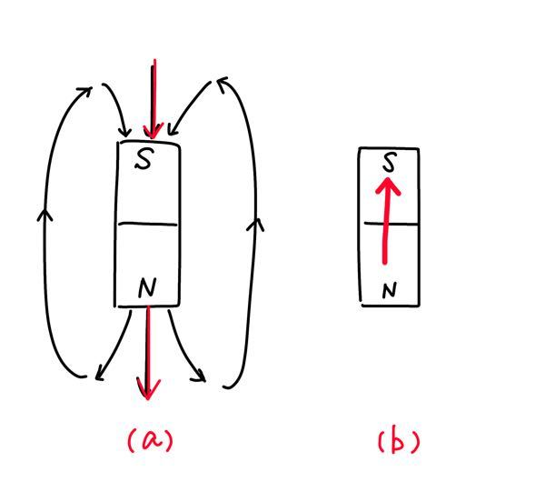 中学理科 【磁石】磁界、電流 中3の妹に「磁界を考える時、なぜ(b)の向きではなく(a)の矢印の向きで考えるのか」と聞かれました。 どのように説明したらいいでしょうか? N極からS極へ磁界が発生するということは分かっています。 私が説明下手ですみません。言葉の足りない所あれば、聞いてください。。 よろしくお願い致します。