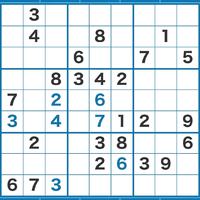 数独の問題で行き詰まったので教えてください。 黒字が元から入っている数字です。 青字が私が入れた数字です。 ここから進めなくなったのですが、次にどこに注目すれば良いかヒントをいただきたいです。 よろしくお願いします。